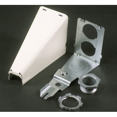 """Wiremold V5786 3-7/8 x 1-5/8 x 2-3/8"""" Ivory Steel 1-Channel Raceway Adjustable Offset Connector"""