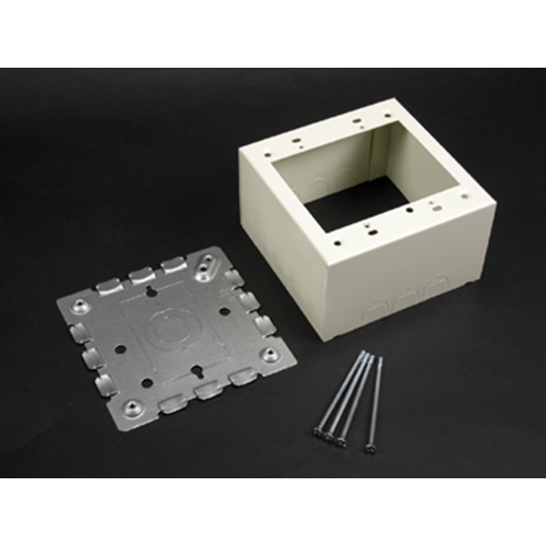 """Wiremold V5744-2 4-3/4 x 4-3/4 x 2-3/4"""" Ivory Steel 1-Channel Raceway 2-Gang Extra Deep Switch and Receptacle Box"""