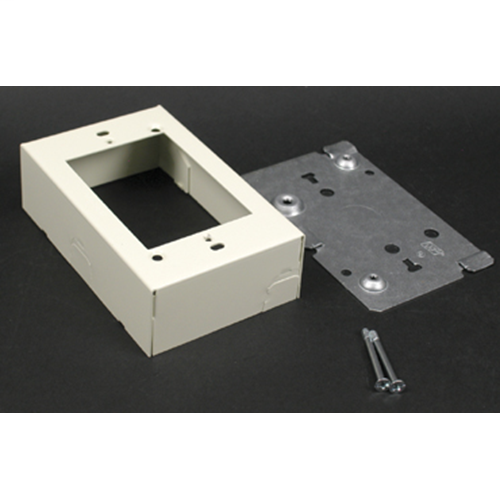 "Wiremold V5741 4-5/8 x 2-13/16 x 1-3/8"" Ivory Steel 1-Channel Raceway Switch and Receptacle Box"