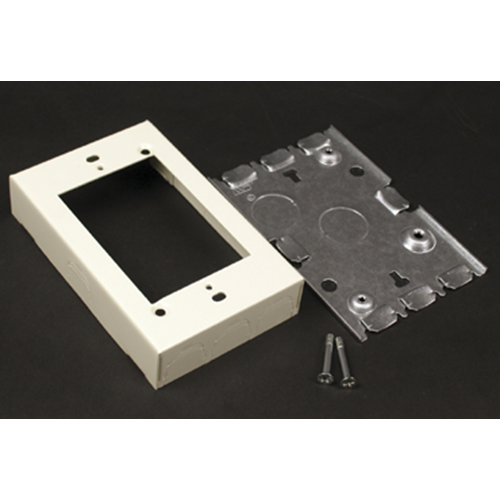 "Wiremold V5748S 4-5/8 x 2-7/8 x 15/16"" Ivory Steel 1-Channel Raceway 1-Gang Shallow Switch and Receptacle Box"