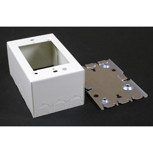 """Wiremold 5747WH 4-5/8 x 2-7/8 x 1-3/8"""" White Steel 1-Channel Raceway 1-Gang Shallow Switch and Receptacle Box"""