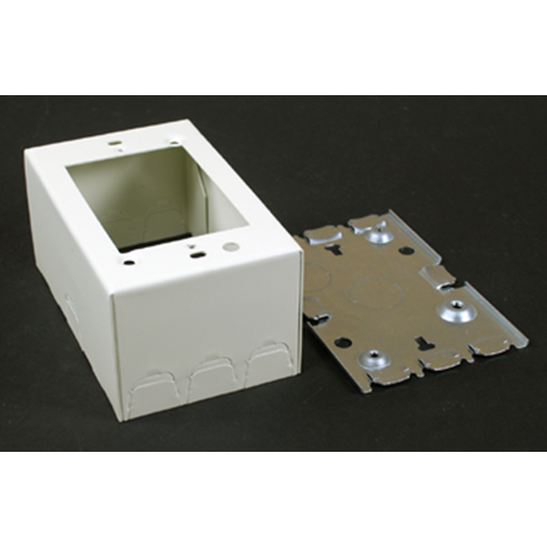 """Wiremold V5744S 4-5/8 x 2-7/8 x 2-1/4"""" Ivory Steel 1-Channel Raceway 1-Gang Deep Switch and Receptacle Box"""