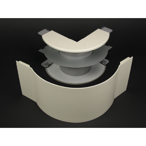 Wiremold V4018FO 6-1/2 Inch Ivory Steel Multiple Channel Raceway Radiused Full Capacity External Elbow