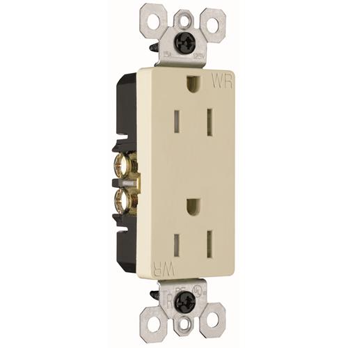 Pass & Seymour 885TRWRI 15 Amp 125 VAC 2-Pole 3-Wire NEMA 5-15R Ivory Thermoplastic Duplex Decorator Receptacle