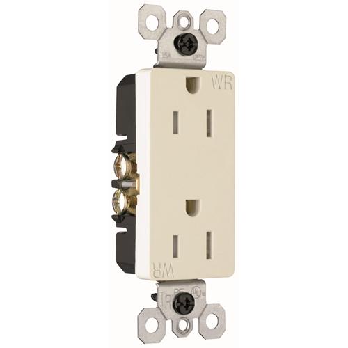 Pass & Seymour 885-TRWRLA 15 Amp 125 VAC 2-Pole 3-Wire NEMA 5-15R Light Almond Thermoplastic Duplex Decorator Receptacle