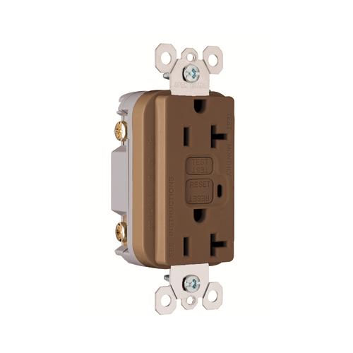 Pass & Seymour 2095 20 Amp 125 VAC 2-Pole 3-Wire NEMA 5-20R Thermoplastic Brown Duplex GFCI Receptacle