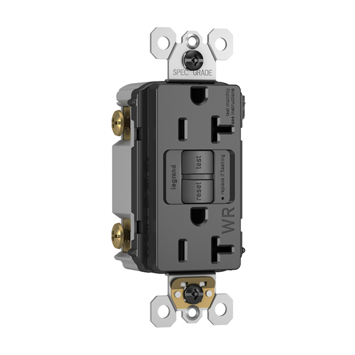 Pass & Seymour 2097-TRWRBK Spec-Grade Weather Resistant 20 Amp Black Self Test Duplex GFCI