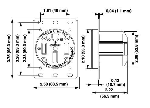 nema l14 30 wiring diagram wiring diagram and hernes 30 ere 125 250 volt l1430 l14 l1430p 30p ul 498