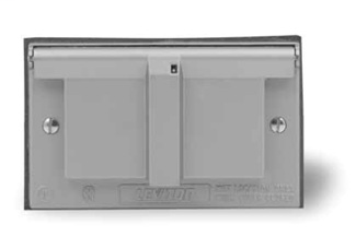 1-Gang Single 1.406 Inch Hole Device Receptacle Wallplate, Weather-Resistant, Die-Cast Zinc, Device Mount, Horizontal Self Closing Lid - Gray