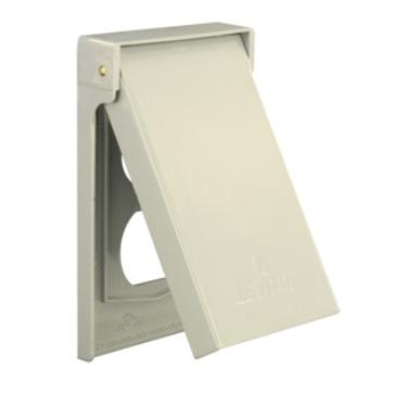 1-Gang Duplex Device Receptacle Wallplate, Weather-Resistant, Die-Cast Zinc, Device Mount, Vertical - Gray