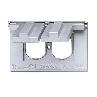 1-Gang Duplex Device Receptacle Wallplate, Weather-Resistant, Die-Cast Zinc, Device Mount, Horizontal 2-Self Closing Lids - Gray