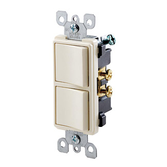 leviton t light almond stack switch two single pole
