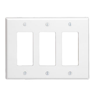 3-Gang Decora midway size smooth plastic wallplate/faceplate. Brown
