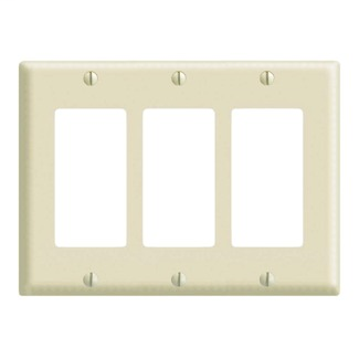 3-Gang, 3-Decora midway nylon wallplate. Light Almond