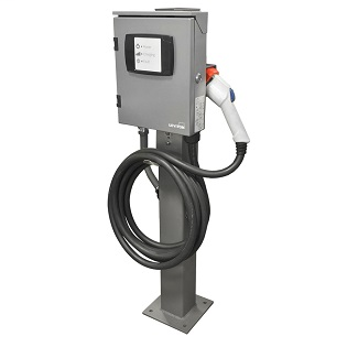 Evr-Green® 32 Amp, 7.7kW output, 18' charging cable & Pedestal Mounting Pole and Base (Includes (1) EVPED-002 & (1) EVB32-M8L)