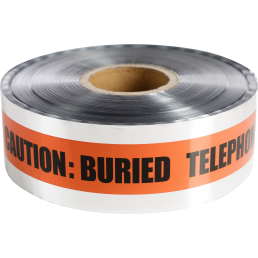 Minerallac 94640 3 Inch x 1000 Foot Buried Telephone Line Below Legend Detectable Tape