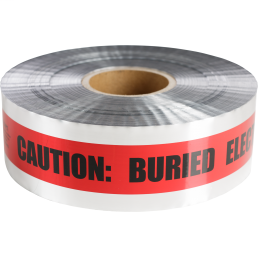 Minerallac 94636 6 Inch x 1000 Foot Silver with Red Stripe Caution Buried Electric Line Underground Detectable Tape