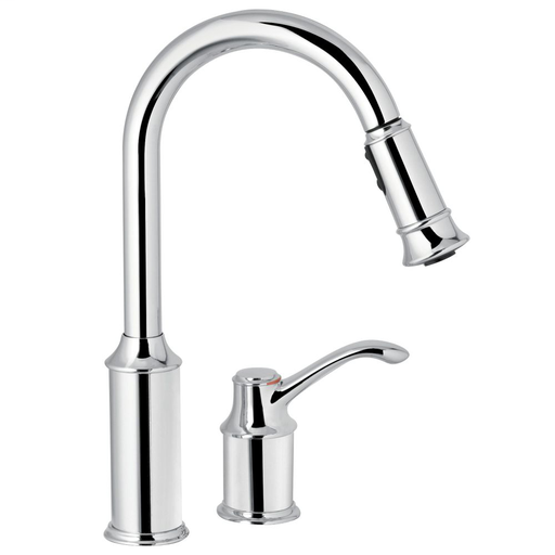 Aberdeen Chrome one-handle high arc pulldown kitchen faucet