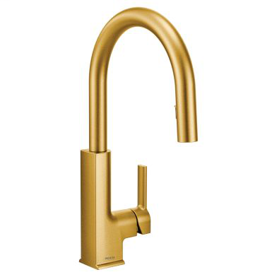 STo Brushed gold one-handle high arc pulldown kitchen faucet