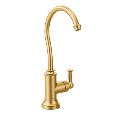 Sip Traditional Brushed gold one-handle high arc beverage faucet