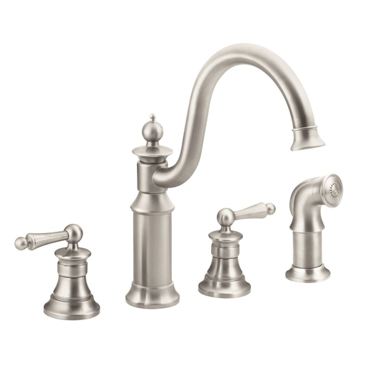 Waterhill Spot resist stainless two-handle high arc kitchen faucet