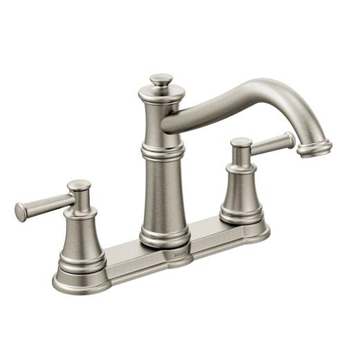 Belfield Spot resist stainless two-handle high arc kitchen faucet