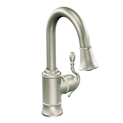 Woodmere Spot resist stainless one-handle high arc pulldown bar faucet