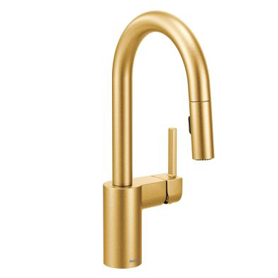 Align Brushed gold one-handle high arc pulldown bar faucet