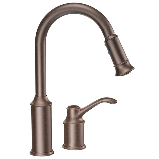 Aberdeen Oil rubbed bronze one-handle high arc pulldown kitchen faucet