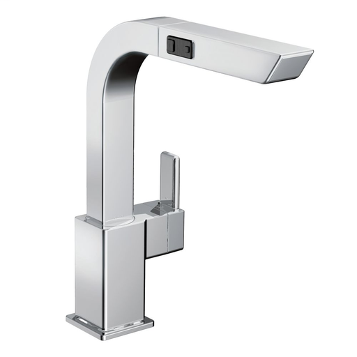 90 Degree Chrome one-handle high arc pullout kitchen faucet