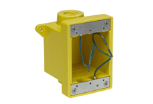 "Woodhead FD Yellow Glass-Filled Polyester Box, Corrosion -resistant (2) 12.70mm (.500"") Threaded Knock-out Openings"