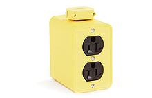 Super-Safeway Multiple Outlet Box, Standard Depth, 2-Sided, NEMA 5-15 Duplex Receptacles, Cord Clamp, Duplex Cover Plates