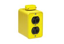 Super-Safeway Multiple Outlet Box, Standard Depth, 2-Sided, NEMA 5-20 Duplex Receptacles, Cord Clamp, Duplex Cover Plates