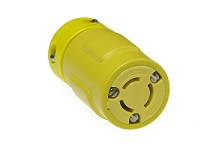Woodhead 2507 3-Pole 3-Wire 10 to 15 Amp 125 to 250 Volt Yellow Straight Connector