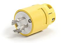 Woodhead 2676 2-Pole 3-Wire 20 Amp 480 Volt NEMA L16-20 Yellow Locking Plug