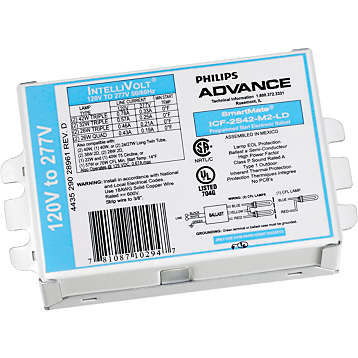 ADV ICF2S26H1LDK (ADVANCE) BALLAST 1or2 26W 120/277V PROGRAM START (1or2) CFM26W/GX24Q, CFQ26W/24q, (1) CFM32W/GX24q, (1) CFM42W/GX24q, (2) CFS21W/GR10q or (2) FT24W/2G1