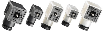 DIN Valve Connector, DIN Valve A Style (18mm), field attachable, 2 pole + gnd, surge suppression, 24V, PG9, 6-8mm