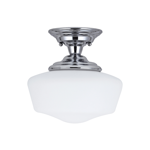 SEG 77436-05 ACADEMY ONE LIGHT SMALL SEMI-FLUSH MOUNT IN CHROME WITH SATIN WHITE SCHOOLHOUSE GLASS