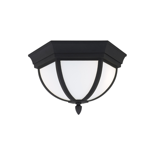 SEG 79136BLE-12 TWO LIGHT FLUORESCENT OUTDOOR CEILING IN BLACK FINISH WITH ETCHED GLASS, WHITE INSIDE