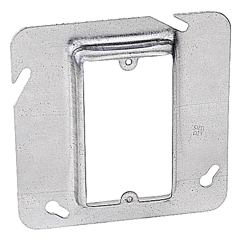 "Steel City 72C14-5/8 4-11/16"" Steel Square Box Device Cover, 5/8"" Raised, 4 cu.in."