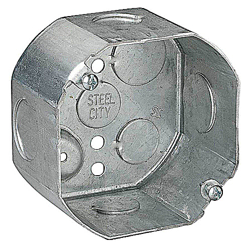 Steel City 54171-1/2-3/4 4 Inch 22.5 In Steel Octagon Box with 1/2 and 3/4 Inch Knockouts