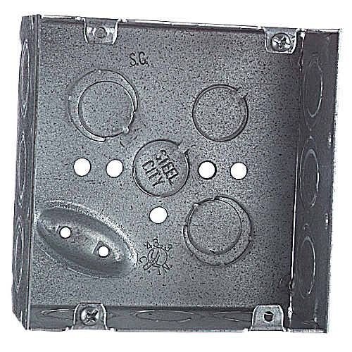 Steel City 72171-1/2-3/4-E 4-11/16 x 2-1/8 Inch Steel Square Box with 1/2 and 3/4 Inch Eccentric Knockouts