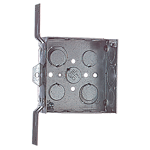 Steel City 52151-CV-1/2-3/4 4 x 1-1/2 Inch Steel Square Box with 1/2 and 3/4 Inch Knockout and Bracket