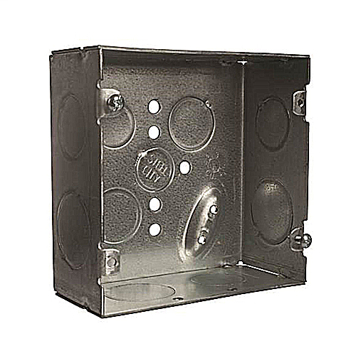Steel City 72171-3/4-1 4-11/16 x 2-1/8 Inch Steel Square Box with 1/2, 3/4 and 1 Inch Knockouts