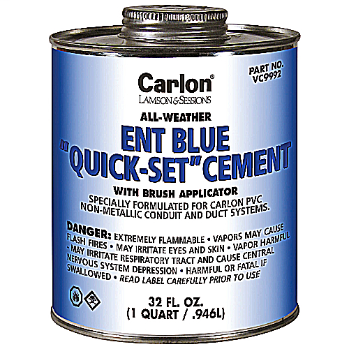 Carlon,VC9992,ENT BLUE CEMENT W/BRUSH - QUART 313