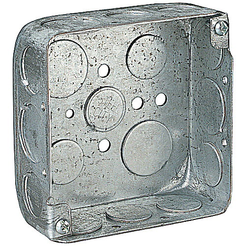 Steel City 52151-1/2-3/4 4 Inch 1-1/2 Deep Steel Square Box with 1/2 and 3/4 Inch Knockouts