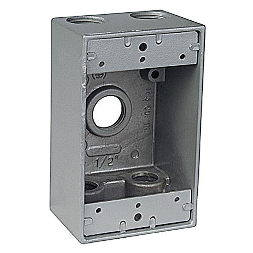 RED-DOT DIH5-1-LM 1 GANG BOX W/5 1/2-IN HUBS WEATHERPROOF