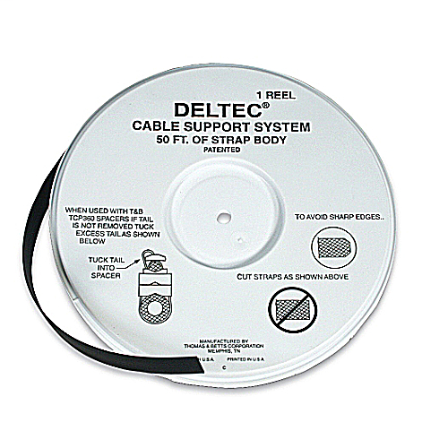 Deltec,TYD-50R,CABLE TIE 15X0.5IN BLK ACETAL 250LB