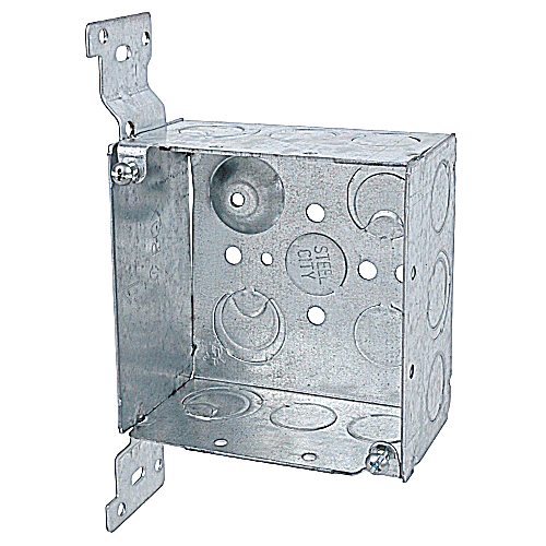 Steel City 52171-CV1/2-3/4 4 x 2-1/8 Inch Steel Square Box with 1/2 and 3/4 Eccentric Knockouts and Bracket