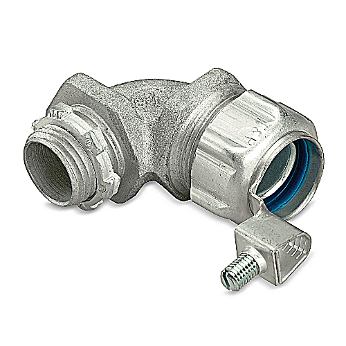 T&B 5352GR 1/2-IN 90DEG INSULATED THROAT LIQUIDTIGHT FLEX CONNECTOR W GROUND LUG